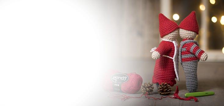 Virkade juldekorationer och julstickning
