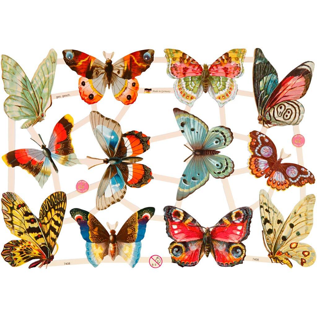 Bokmärken Fjärilar 3 ark