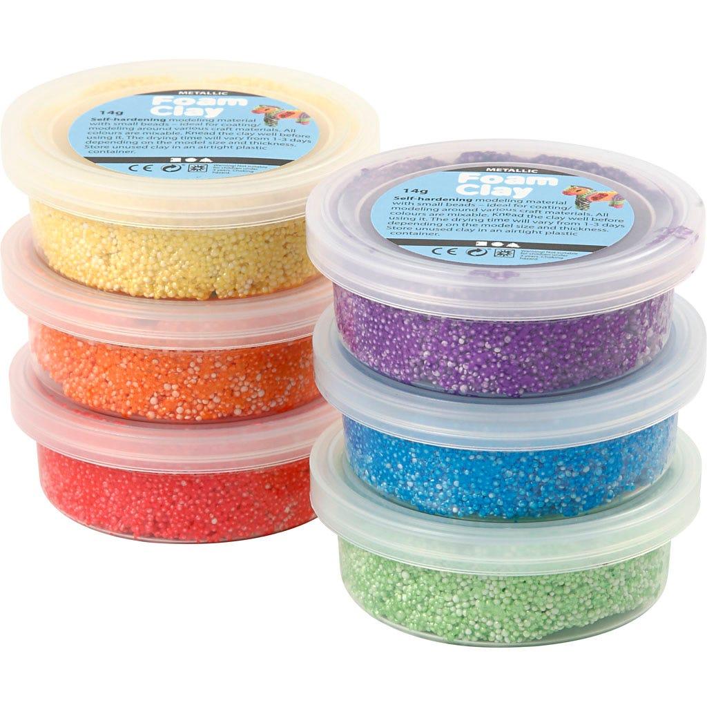 Foam Clay - Mixade färger metallic 6x14 g