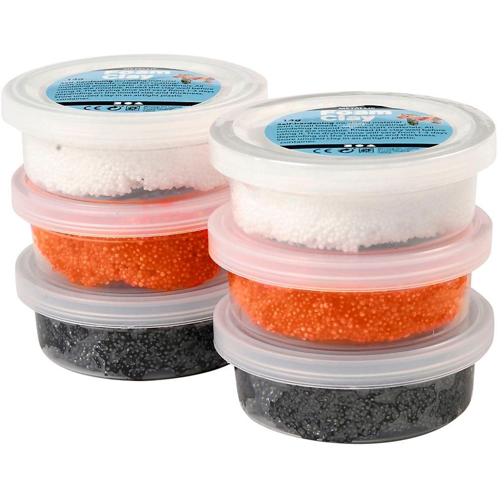 Foam Clay - Vit, orange, svart, halloween, 6x14 g