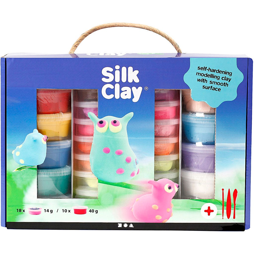 Silk Clay - Presentask , mixade färger, 1set