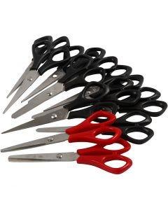 Skolsax, L: 14 cm, höger & vänster, svart, röd, 12 st./ 1 förp.