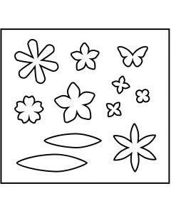 Skärschablon, blommor, stl. 14x15,25 cm, tjocklek 15 mm, 1 st.