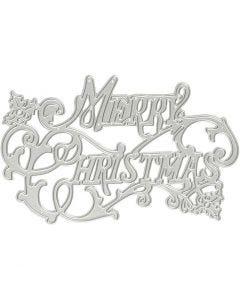 Skär och prägelschablon, Merry Christmas, Dia. 11,5x7,2 cm, 1 st.