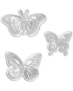 Skär och prägelschablon, fjäril, stl. 5x4,5+6,5x5+8x4,5 cm, 1 st.