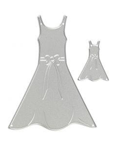 Skär och prägelschablon, klänningar, stl. 27x35+26x90 mm, 1 st.
