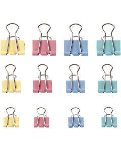 Clips, B: 15-19-25 mm, pastellfärger, 30 mix./ 1 förp.