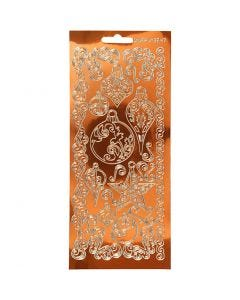 Stickers, ornament, 10x23 cm, guld, 1 ark