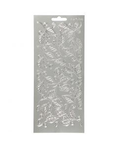 Stickers, blad, 10x23 cm, silver, 1 ark