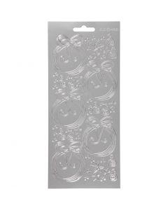 Stickers, julkulor, 10x23 cm, silver, 1 ark
