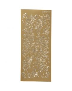 Stickers, blad, 10x23 cm, guld, 1 ark