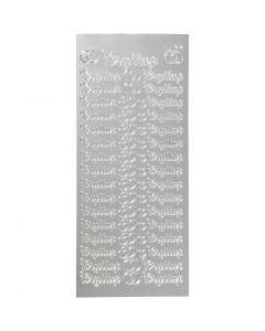 Stickers, bryllup, 10x23 cm, silver, 1 ark