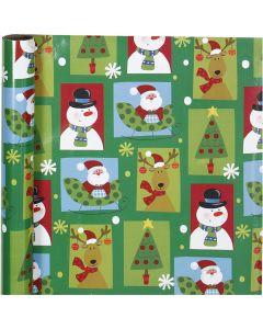 Presentpapper, fyrkantig jul, B: 70 cm, 80 g, 4 m/ 1 rl.
