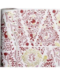 Presentpapper, Julgranar, B: 50 cm, 80 g, guld, röd, vit, 100 m/ 1 rl.