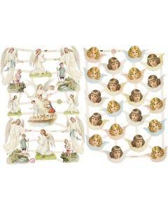 Bokmärken, nostagiska änglar, 16,5x23,5 cm, 2 ark/ 1 förp.