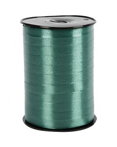 Presentsnöre, B: 10 mm, blank, mörkgrön, 250 m/ 1 rl.