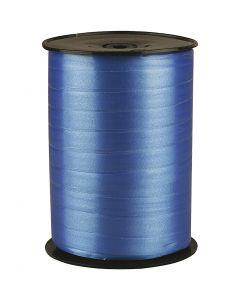 Presentsnöre, B: 10 mm, blank, blå, 250 m/ 1 rl.
