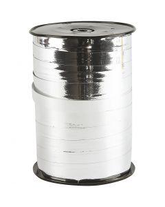 Presentsnöre, B: 10 mm, blank, metallsilver, 250 m/ 1 rl.