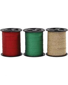 Presentsnören, B: 10 mm, glitter, guld, grön, röd, 3x15 m/ 1 förp.