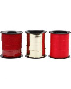 Presentsnören, guld, röd, röd, 3x15 m/ 1 förp.