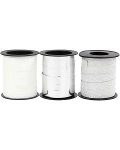 Presentsnören, silver, silverglitter, vit, 3x15 m/ 1 förp.