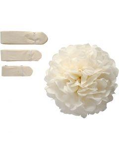 Papperspompomer, Dia. 20+24+30 cm, 16 g, råvit, 3 st./ 1 förp.