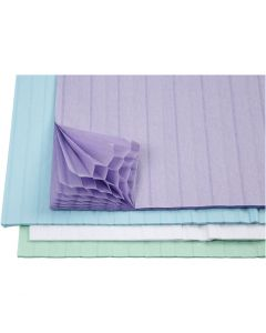 Dragspelspapper, 28x17,8 cm, ljusblå, grön, lila, vit, 4x2 ark/ 1 förp.