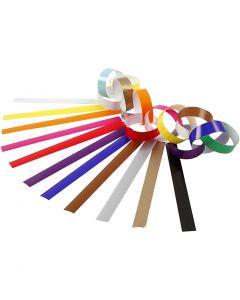 Girlangstrimlor, L: 16 cm, B: 15 mm, mixade färger, 400 st./ 1 förp.