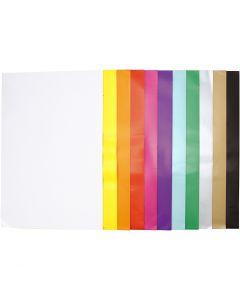 Glanspapper, 32x48 cm, 80 g, mixade färger, 11x25 ark/ 1 förp.
