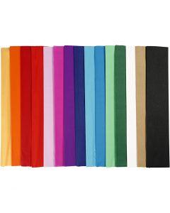Kräppapper, L: 2,5 m, B: 50 cm, 22 g, mixade färger, 60 ark/ 1 förp.