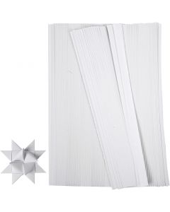 Stjärnstrimlor, L: 45 cm, B: 10 mm, Dia. 4,5 cm, vit, 500 strimlor/ 1 förp.