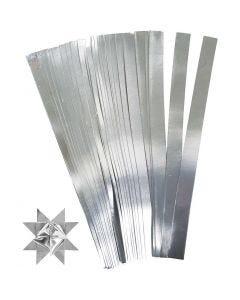 Stjärnstrimlor, L: 45 cm, Dia. 6,5 cm, B: 15 mm, silver, 100 strimlor/ 1 förp.