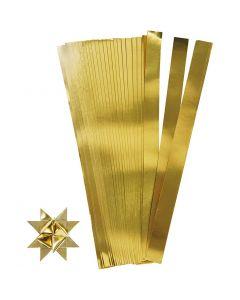 Stjärnstrimlor, L: 45 cm, Dia. 6,5 cm, B: 15 mm, guld, 100 strimlor/ 1 förp.
