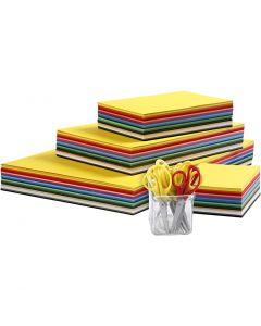 Kreativ kartong och barnsaxar, A3,A4,A5,A6, 180 g, mixade färger, 1 set