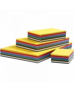 Creativ kartong, A2,A3,A4,A5,A6, 180 g, mixade färger, 1800 mix. ark/ 1 förp.