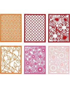 Spetskartong i block, A6, 104x146 mm, 200 g, orange, rosa, rosa, röd, 24 st./ 1 förp.