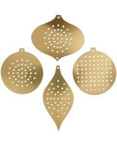 Sykartong, H: 8,5-12 cm, Hålstl. 3 mm, metallicguld, 8 st./ 1 förp.