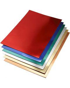 Metallkartong, A2, 420x600 mm, 280 g, mixade färger, 30 mix. ark/ 1 förp.