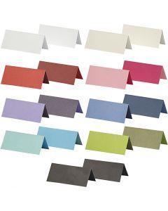Bordskort, stl. 9x4 cm, Innehållet kan variera , 250 g, mixade färger, 30 förp./ 1 förp.