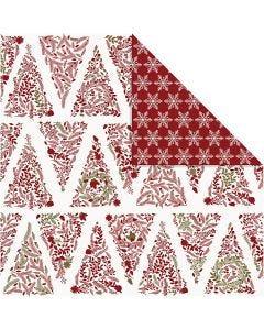 Designpapper, julgranar & stjärnor, 30,5x30,5 cm, 180 g, guld, röd, vit, 3 ark/ 1 förp.