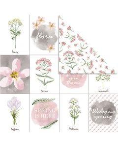 Designpapper, blommor, 30,5x30,5 cm, 180 g, 5 ark/ 1 förp.