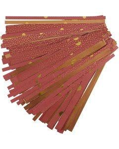 Stjärnstrimlor, L: 44+78 cm, Dia. 6,5+11,5 cm, B: 15+25 mm, guld, röd, 48 strimlor/ 1 förp.