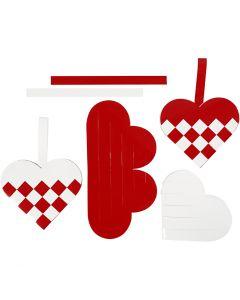 Flätade hjärtan, stl. 13,5x12,5 cm, röd, vit, 8 set/ 1 förp.