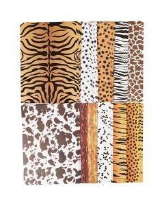 Mönstrad kartong, djur, A4, 210x297 mm, 300 g, 10x10 ark/ 1 förp.