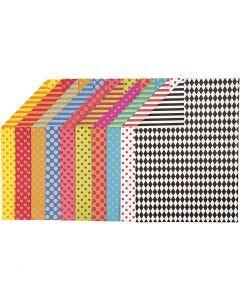 Mönstrad kartong, A4, 210x297 mm, 250 g, mixade färger, 200 mix. ark/ 1 förp.