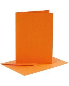 Kort och kuvert, kortstl. 10,5x15 cm, kuvertstl. 11,5x16,5 cm, 110+220 g, orange, 6 set/ 1 förp.
