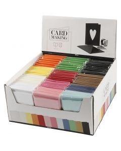 Kort och kuvert, kortstl. 10,5x15 cm, kuvertstl. 11,5x16,5 cm, mixade färger, 120 set/ 1 förp.