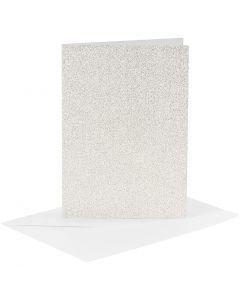Kort och kuvert, kortstl. 10,5x15 cm, kuvertstl. 11,5x16,5 cm, glitter, 120+250 g, vit, 4 set/ 1 förp.