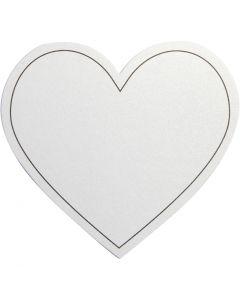 Hjärta, stl. 75x69 mm, 120 g, vit, 10 st./ 1 förp.