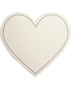 Hjärta, stl. 75x69 mm, 120 g, råvit, 10 st./ 1 förp.